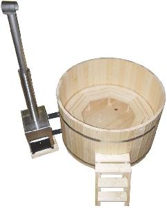 ciubar din lemn - Hot tub din lemn cu soba de exterior