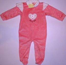 Salopeta bebeluse roz Inimioara inflorata - 14437
