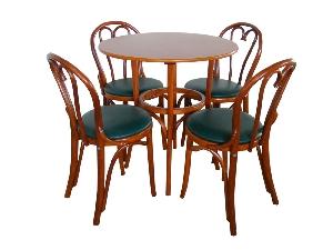Masa rotunda si 4 scaune Bistro tapitate 6018