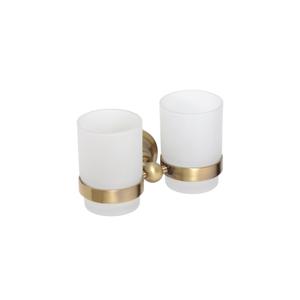 Suport pahar dublu pentru baie gold Retro
