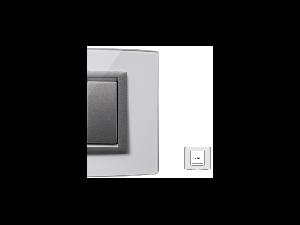 Placa Vitra sticla cristal, 2 module, mod comanda argintiu