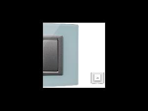 Placa Vitra sticla albastru deschis, 2 module, mod comanda argintiu