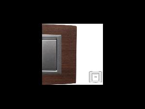 Placa Vitra lemn cires , 2 module, mod comanda argintiu