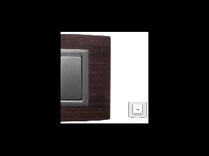 Placa Vitra lemn nuc natural, 2 module, mod comanda argintiu