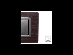 Placa Vitra lemn wenghe, 2 module, mod comanda argintiu