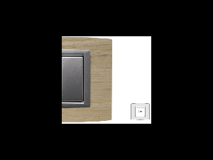Placa Vitra lemn de stejar alb, 2 module, mod comanda argintiu