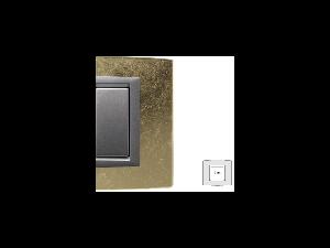Placa Vitra sticla frunza de aur, 2 module, mod comanda argintiu