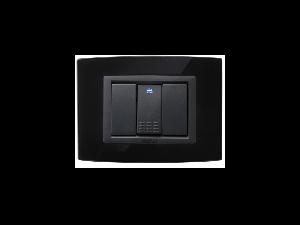 Placa Vitra sticla negru pur, 3 module, mod comanda gri