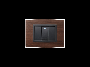 Placa Vitra lemn nuc natural, 3 module, mod comanda gri