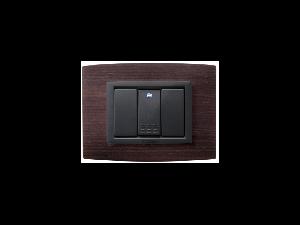Placa Vitra lemn wenghe, 3 module, mod comanda gri