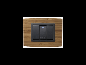 Placa Vitra lemn bambus, 3 module, mod comanda gri
