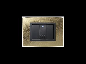 Placa Vitra sticla frunza de aur, 3 module, mod comanda gri