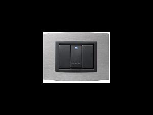 Placa Vitra aluminiu, 3 module, mod comanda gri