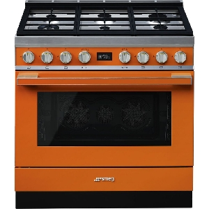 Aragaz SMEG Portofino CPF9GMOR, 90X60cm,  6 arzatoare, cuptor electric, timer, aprindere electronica, portocaliu, curatare aburi