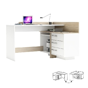 Masa de birou, S/D, de colt, stejar sonoma/alb, GL TALE 484881