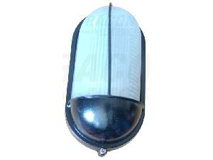 Corp iluminat metalic protejat,oval,negru, acoperit vertical TLH-04FF 230V, 50Hz, E27, max.60W, IP44, EEI=A++,A+,A,B,C,D,E