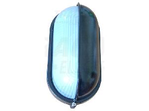 Corp iluminat metalic protejat,oval,negru,acoperit orizontal TLH-14F 230V, 50Hz, E27, max.100W, IP44, EEI=A++,A+,A,B,C,D,E
