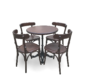 Masa cu picior metalic cu scaune Louise (reducere 5%)