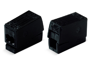 2-conductor lighting connector; push-button on lighting side; Lighting side: for all conductor types; Inst. side: for solid conductors; 224 Series; max. 2.5 mm²; Surrounding air temperature: max 75°C; 2,50 mm²; black
