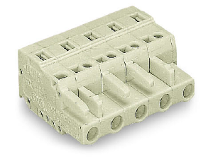 1-conductor female plug; 100% protected against mismating; 2.5 mm²; Pin spacing 7.5 mm; 6-pole; 2,50 mm²; light gray