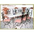 Set de masa cu scaune din fier forjat