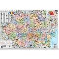Harta Romania administrativa  100 x 140 cm  plastifiata  cu baghete