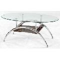 Masa din sticla cu suport metalic cromat A 95