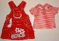 Rochita rosie de blug cu tricou - 9633 9633