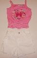 Pantalon scurt alb cu maiou roz  - 1704_1 1704_1