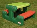 Masă picnic cu banchetă 4 copii verde, rosu - HPB479A HPB479A
