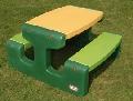 Masă picnic cu banchetă 6 copii verde, galben - HPB466A HPB466A