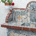 Masa gratar + chiuveta - Placata cu piatra decorativa