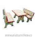 Mobilier Gradina (masa + 2 bancute) Placat cu piatra decorativa