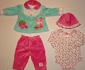 Set hainute 4 piese pentru bebeluse Capsunica roz - 14062