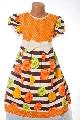 Rochita fete portocalie cu imprimeu floral  - BBN1152