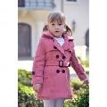 Paltonas clasic de iarna pentru fetite Pink Doll - Roz