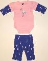 Body roz cu maneca albastra si pantalonas -15004