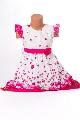 Rochita alba fetite cu floricele roz - BBN1113