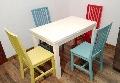 Set masa Roxana extensibila cu scaune colorate Elegance