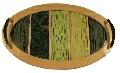 Tava decorativa verde din lemn