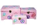 Set cutii roz cu flori si fluturi
