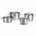 Set de oale din inox Fissler, 8 piese, seria Original Profi Collection, inductie, capac
