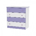 Comoda din lemn cu 4 sertare Dresser Lorelli, White and Violet