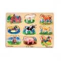 Puzzle de lemn cu sunete Animale de la ferma Melissa & Doug,