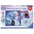 Puzzle Frozen Elsa, Anna si Olaf 3 x 49 Piese Ravensburger,