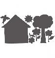 Tabla de scris autocolanta House & Trees Wallies,
