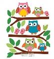 Sticker decorativ pentru camera copii si living Bufnite Wallies,