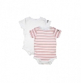 Set Body Waterproof alb-roz Dribble Stop, 3-6 luni