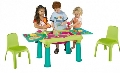 Set masuta de activitati Apa si Nisip cu 2 scaunele Europlast, Vernil cu Turquoise si Scaunele Verzi