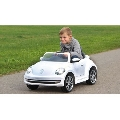 Masinuta electrica copii Volkswagen Beetle Alba Jamara 6V cu telecomanda control parinti 2.4 Ghz